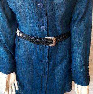 Flax Teal 100% Linen Gauze Mesh Button Dress